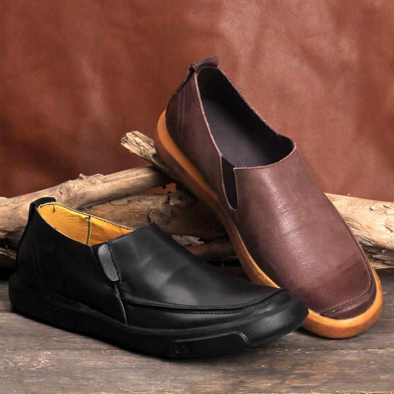 青春鲨真皮皮鞋男头层牛皮软皮休闲鞋手工复古男鞋韩版潮流低帮鞋