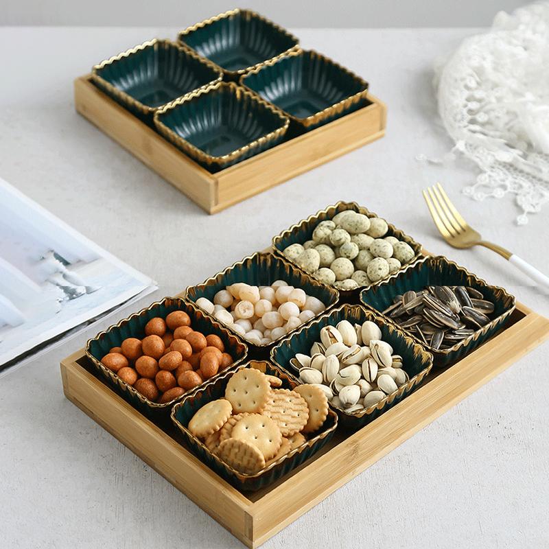 轻奢墨绿陶瓷网红糖果盘零食干果坚果水果盘调味碟小吃碟组合拼盘