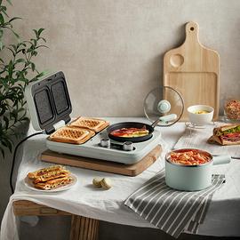 小熊早餐机三明治机轻食家用小型多功能四合一压烤面包机吐司神器图片