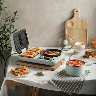小熊早餐机三明治机轻食家用小型多功能四合一压烤面包机吐司神器