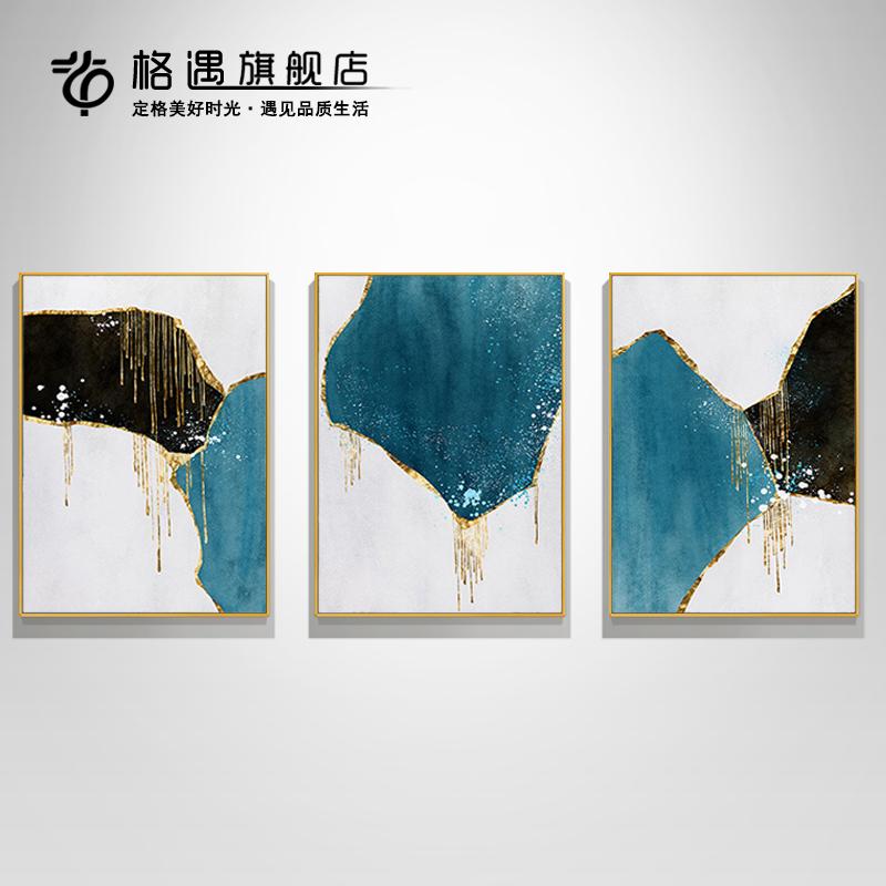 大气新中式北欧玄关装饰油画组合三联手绘抽象挂画客厅沙发背景画