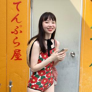 连体泳衣/弹力商店19新款设计师日系椿花美背显瘦遮肉保守