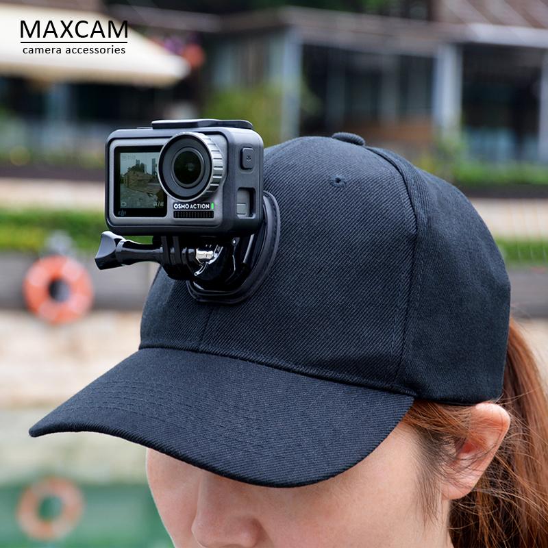 MAXCAM适用dji大疆灵眸运动相机OSMO ACTION帽子夹鸭舌帽头带狗gopro hero9/8/7/6/5/配件insta 360 one R