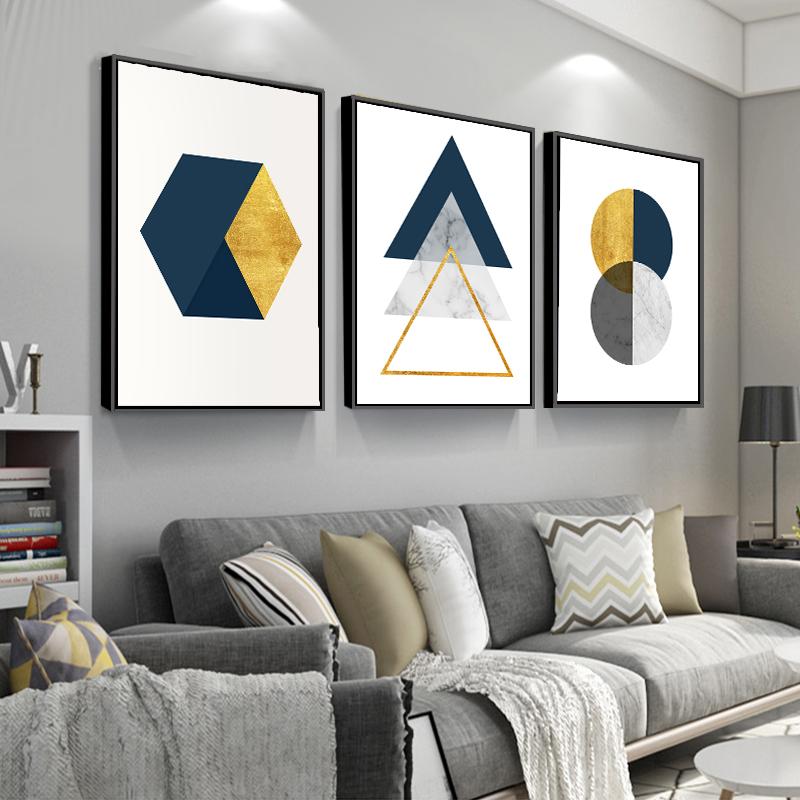 北欧客厅装饰画沙发背景墙几何抽象挂画大气轻奢墙画现代简约壁画
