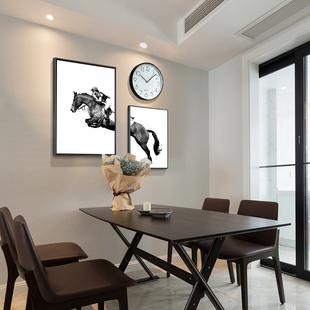 北欧餐厅装 饰画饭厅现代简约挂画创意个性 壁画三件套餐桌墙面挂钟
