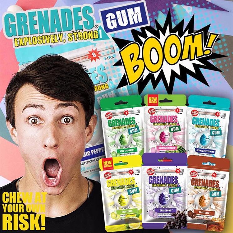 Grenades-歌雷呐 超爽超强烈提神呛凉抖音1薄荷口香糖无糖0级超级