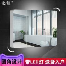 实木烤漆卫生间镜子带置物架带LED灯简约现代浴室镜柜组合挂墙式