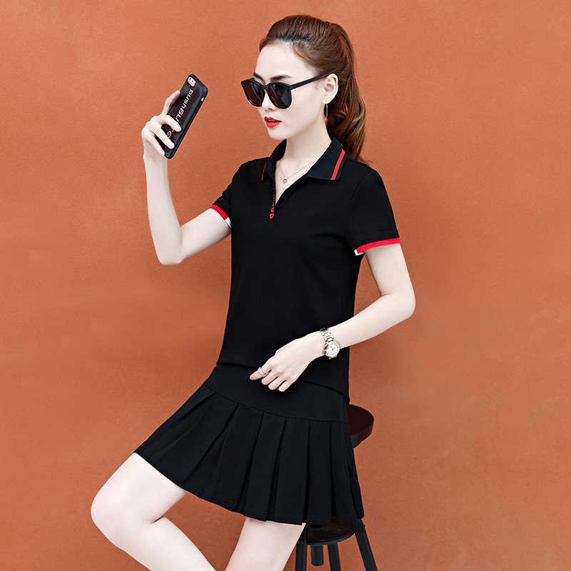 Imported famous brand nolang Gongzi tennis skirt sports suit womens summer 2019 new short sleeve badminton suit with wide lapel