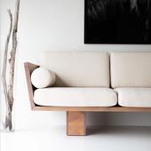 弄居∣北欧日式客厅布艺三人沙发民宿酒店实木单人小沙发小户型