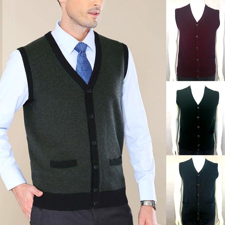 Erdos aoqun authentic autumn winter mens cardigan middle aged V-neck wool mens vest vest waistcoat