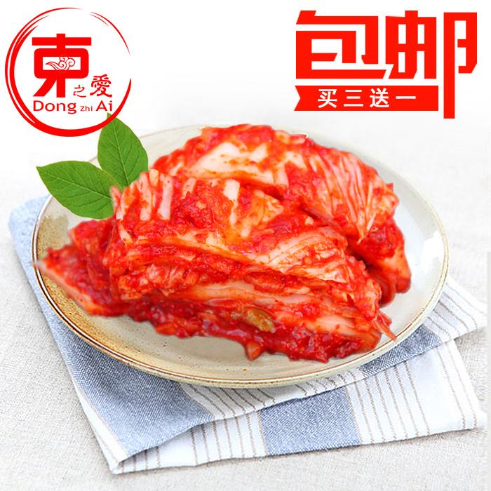 买三送一韩国切好泡菜切件泡菜450g免切片腌制朝鲜辣白菜辛奇