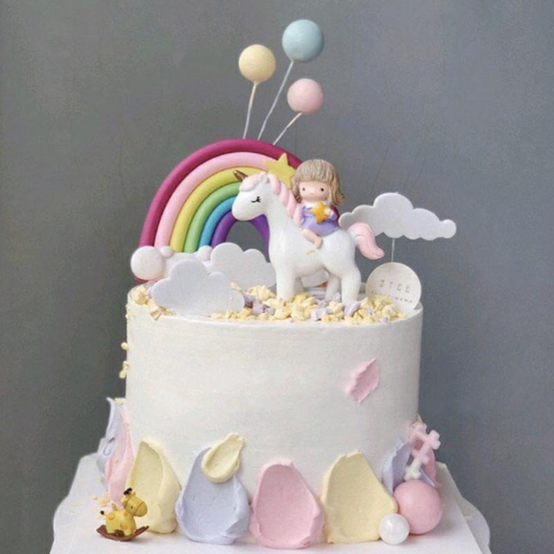 Unicorn cake decoration net red riding girl macaroni ball rainbow cloud creative dessert table plug in