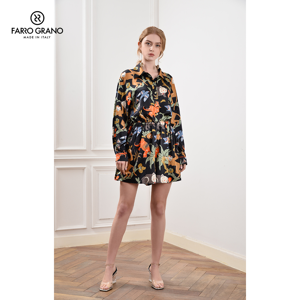 FeNO spring / summer 2020 new loose silk high end mulberry silk European station floral Jumpsuit dress