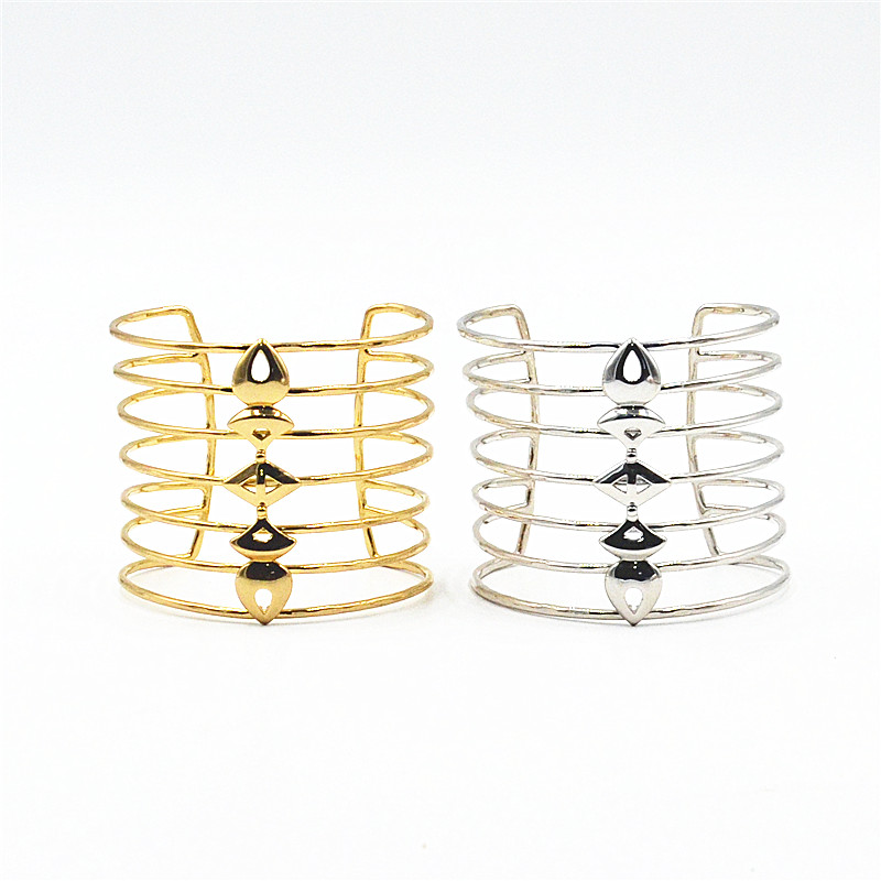 European, American, Japanese and Korean fashion brand marking Korean version simple cool style personality multi-layer womens wide Bracelet