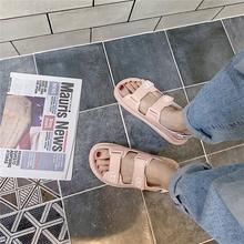 小香风魔术贴厚底凉鞋女2020夏季新款时尚百搭增高平底罗马松糕鞋