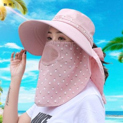 魅性帽子女夏季风晒帽风脸太阳帽大沿户外凉帽紫外线采茶骑车风