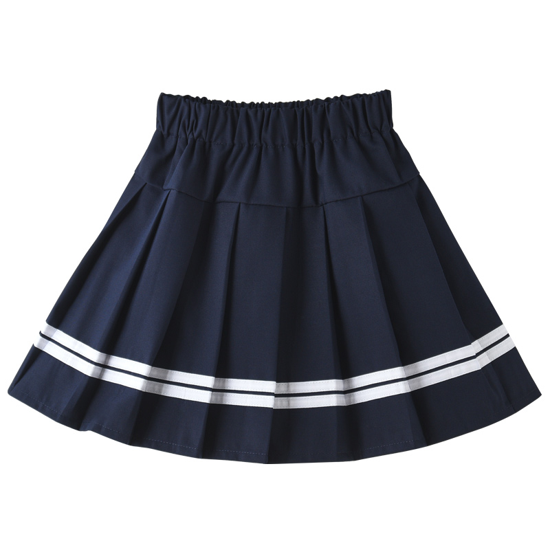Children's Pleated Skirt Half-length Skirt Girls, Middle and Old Children, Primary School Students, Spring and Autumn College, Short Skirt in Tibetan Blue School uniform