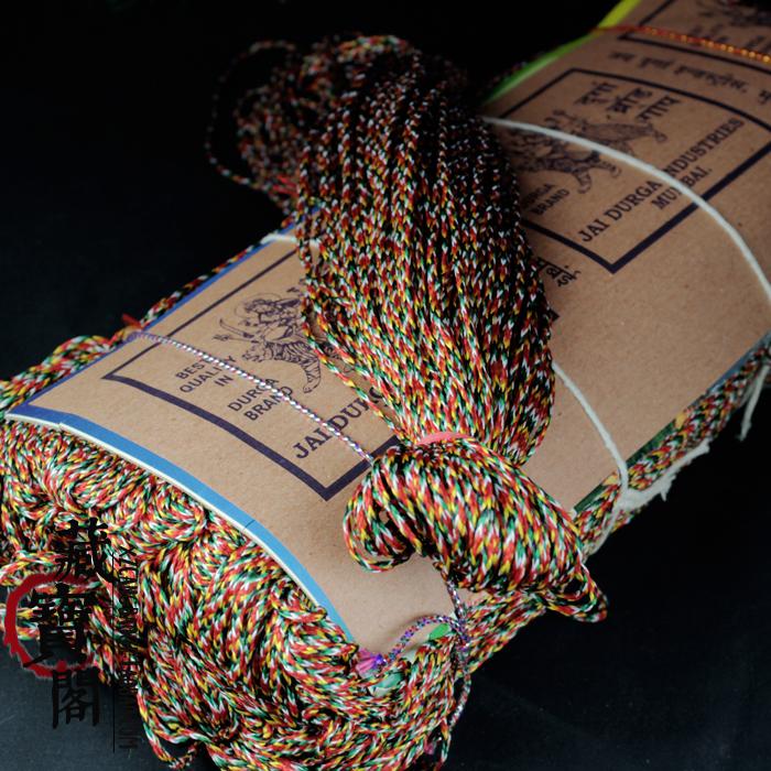 印度进口五彩线金刚绳五色绳文玩佛珠DIY手工绳端午节五彩绳手链 Изображение 1