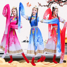 Tibetan dance performance costume female adult long and short detachable sleeves ethnic minority costume stage square dance performance
