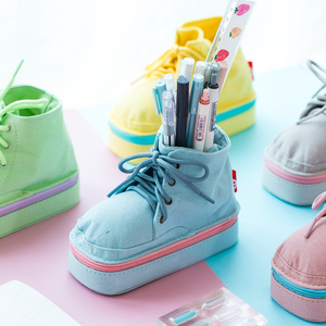 马丁靴造型帆布笔袋铅笔盒柔软文艺笔袋 小清新可爱创意文具 简约