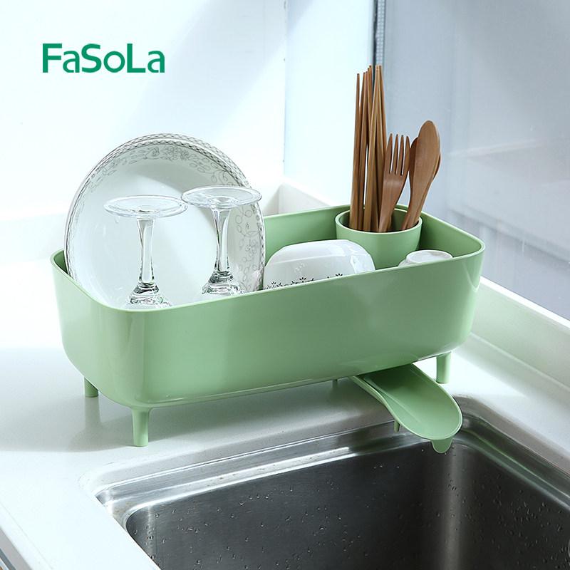 日本FaSoLa厨房餐具置物架碗筷沥水架塑料放碗碗碟碗盘储物收纳盒满30元可用3元优惠券