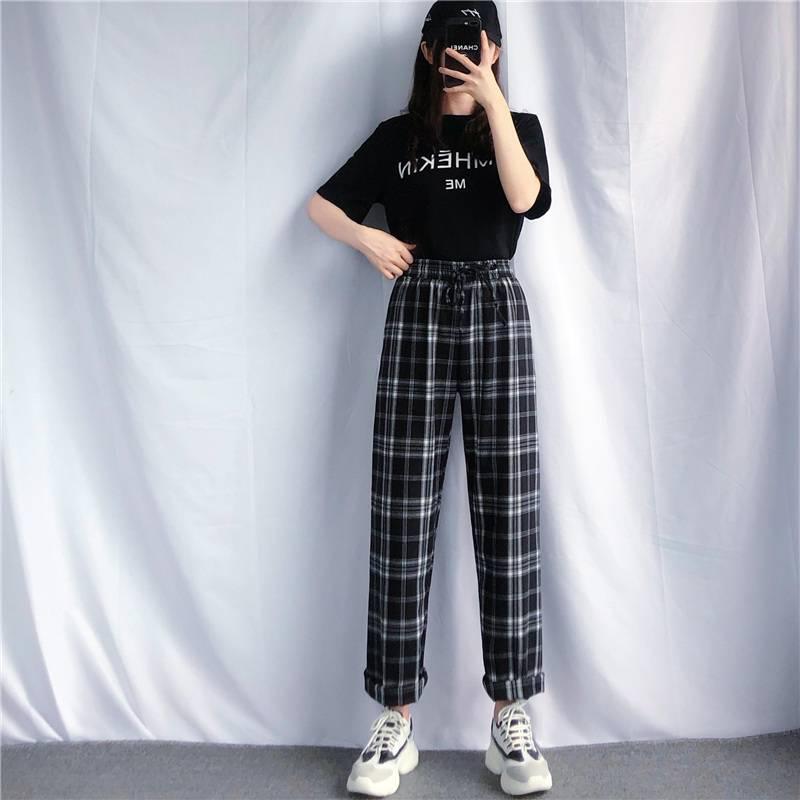 夏季阔腿裤女2020新款韩版宽松黑白格子垂感抽绳直筒长裤休闲裤