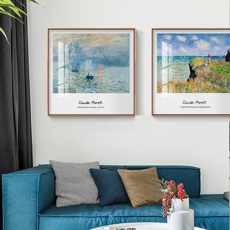 世界名画莫奈日出印象派装饰画挂画睡莲壁画客厅卧室餐厅风景油画