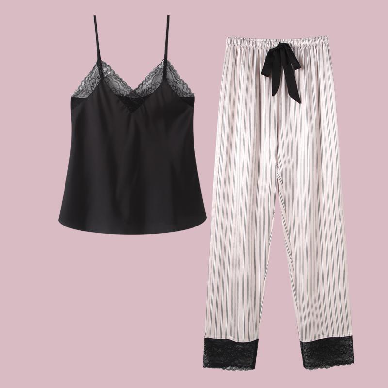 睡衣女夏季薄款冰丝可爱吊带长裤两件套天丝性感女士家居服套装夏(用49元券)