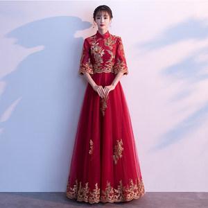 新娘敬酒服旗袍2021新款夏季中式回门礼服女酒红色结婚秀禾服秋季