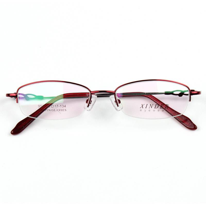 Ultra light bendable womens half frame memory titanium alloy nearsighted glasses with presbyopic glasses and flat lens to prevent blue light