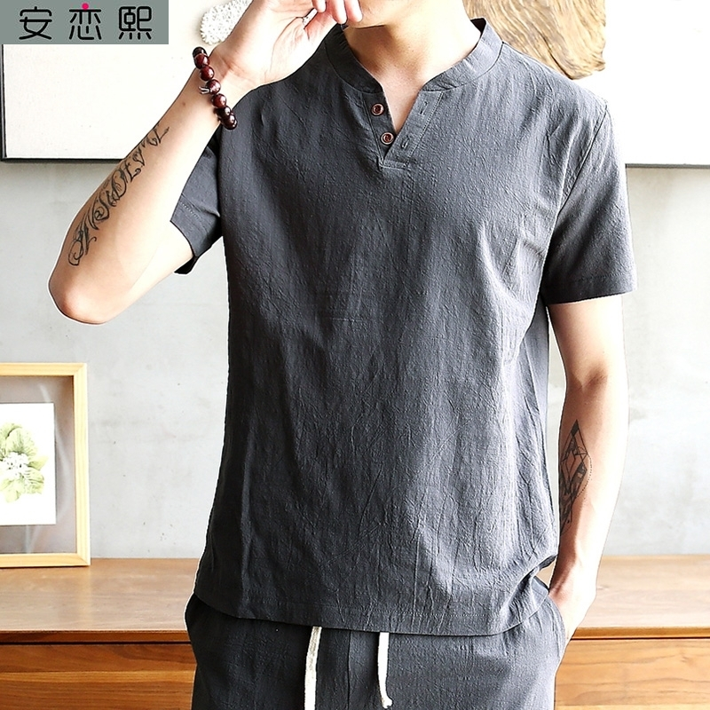 Large size National Style Mens Linen fat guy short sleeve t-shirt mens Chinese style minority coarse cloth clothes Tang suit summer