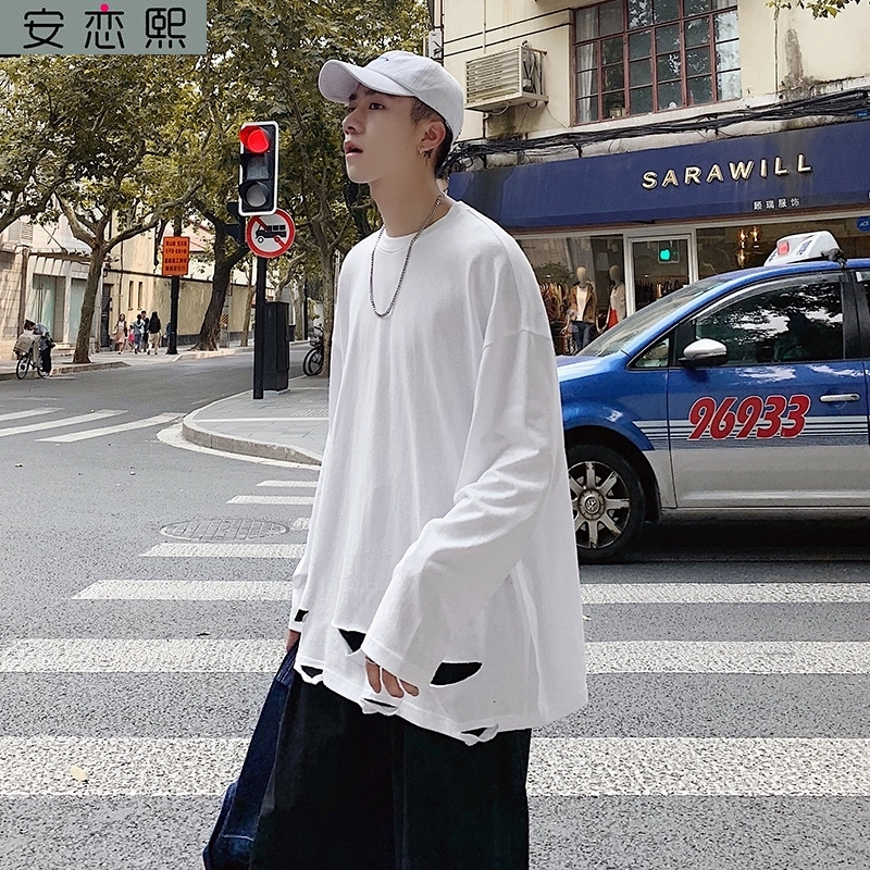 Gaojie chaopai 2020 spring white long bottomed shirt mens knife cut long sleeve with hole in hem and ragged T-shirt