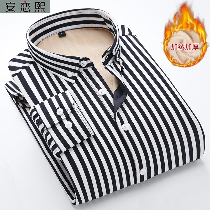 黑白条纹男土毛衣里面的衬衫内搭学生打底有领长袖加绒带绒冬天潮