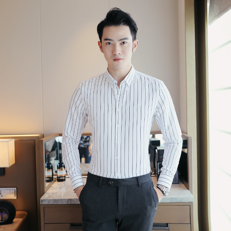 Black and white striped mens earth shirt with student backing and long sleeves Korean gentleman Xia TianChao