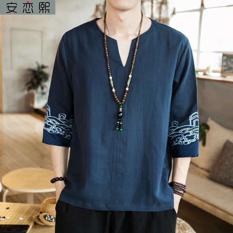 Linen national style embroidery short sleeve male Taoist costume Chinese style Zen 5 / 5 sleeve young Tang Dynasty T-shirt