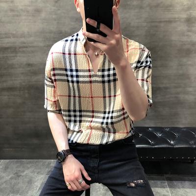 韩版休闲修身连肩袖立领V领衬衫上衣026-P50