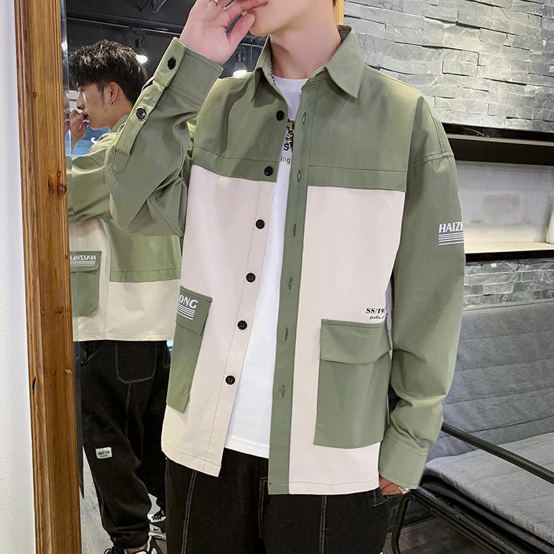 衬衫长袖男士秋装韩版潮流工装帅气上衣牛仔衬衣宽松休闲外套潮牌