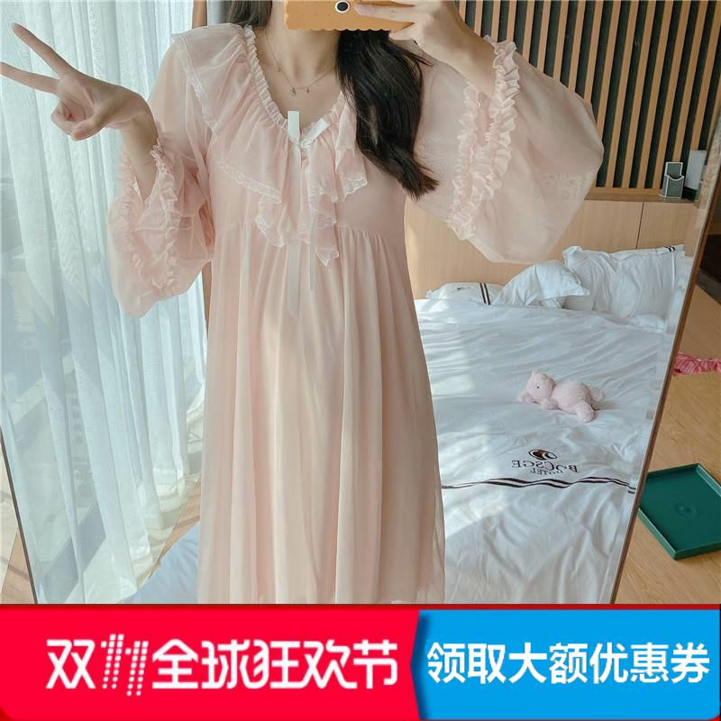 Womens spring and autumn sexy V-neck ice silk thin long sleeve home dress Princess pajamas court style foot nude