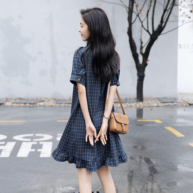学院风秋款流行格子大码鱼尾裙少女2019夏天宽松矮个子衬衫连衣裙