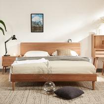 北欧全实木床现代简约日式1.5m樱桃木色家具1.8米原木主卧双人床
