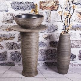 立柱式洗脸盆卫生间洗手盆户外庭院一体落地式柱盆阳台陶瓷台盆小图片