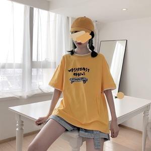 PINKSAVIOR黄色活力滑板相色印花字母纯棉T恤
