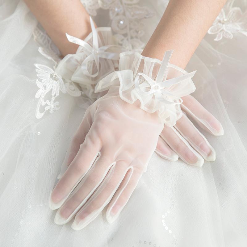 Вода танец невеста корейский бант перчатки в обувь краткое модель перчатки свадьба перчатки монтаж N0113