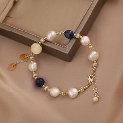 手链ins小众设计天然珍珠韩版简约个性少女心超仙转运黄水晶手串