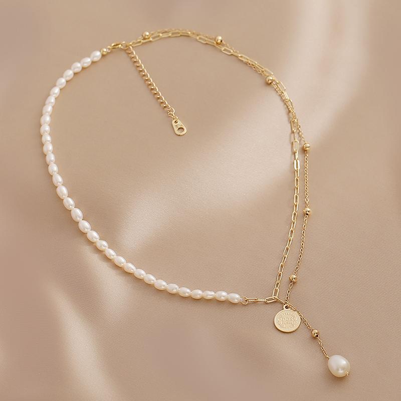 气质复古天然淡水珍珠项链女小众设计感双层叠戴流苏颈链锁骨链