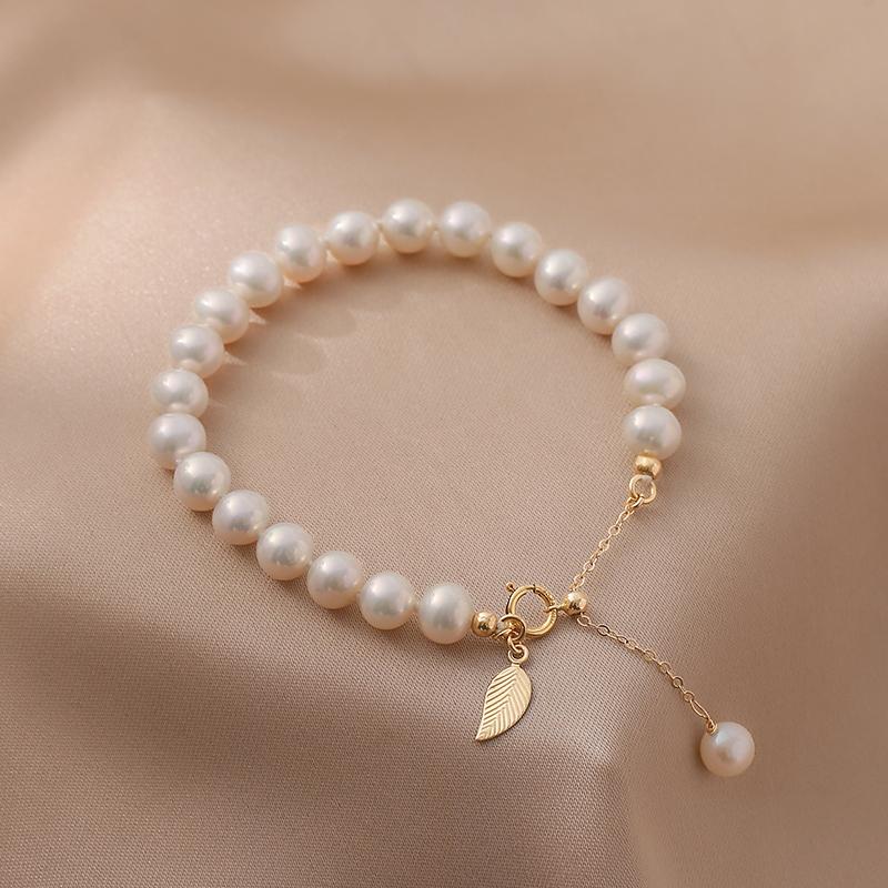 金枝玉叶天然淡水珍珠手链设计小众美国14K包金不掉色情人节礼物