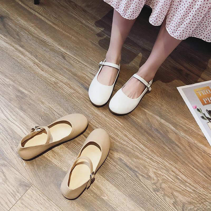 2020新款真皮浅口单鞋一字带玛丽珍鞋文艺复古百搭平底奶奶鞋女秋