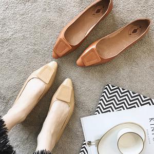 2020春季新款韩版真皮浅口单鞋一脚蹬尖头女鞋时尚平底鞋瓢鞋船鞋