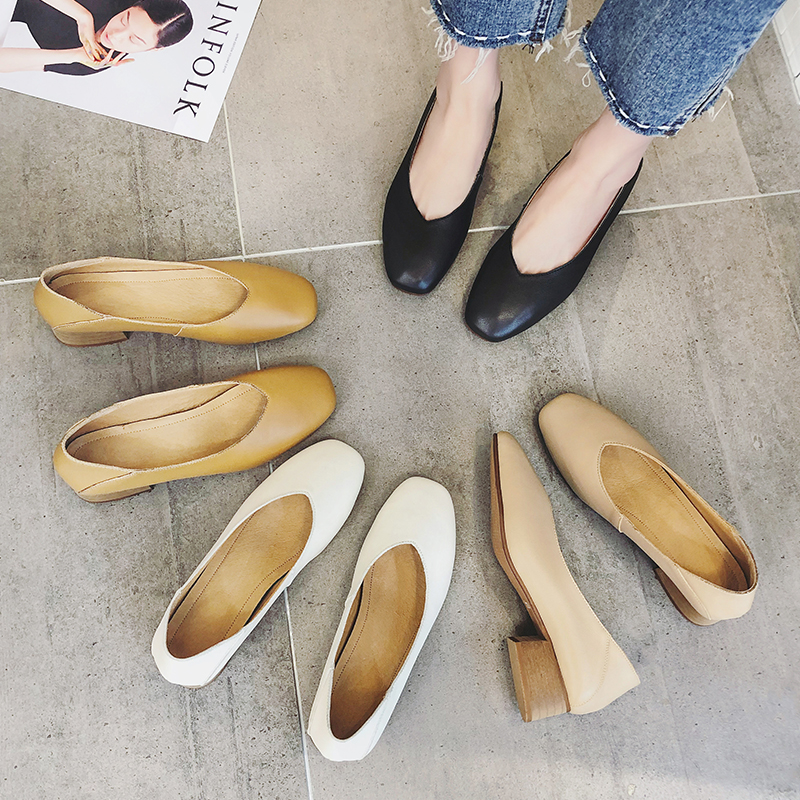 韩版2020夏秋新款真皮浅口单鞋百搭中跟奶奶鞋粗跟方头女鞋软皮鞋