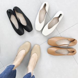 韩版 百搭方头女鞋 真皮浅口单鞋 2021春夏新款 两穿一脚蹬平底奶奶鞋